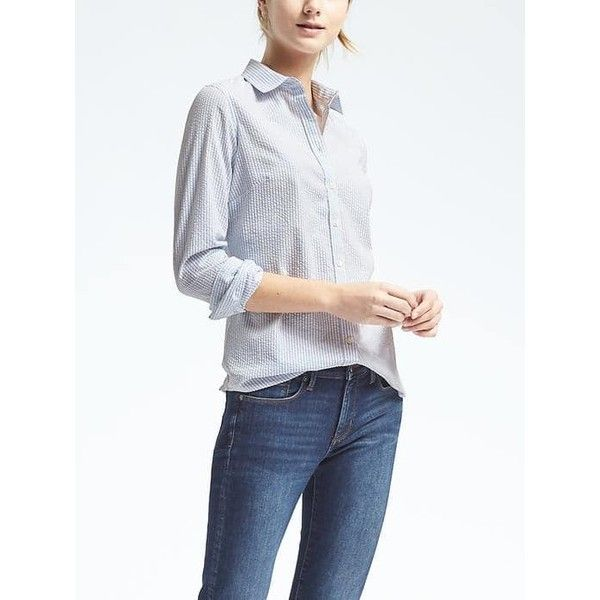 Banana Republic Riley Fit Blue Seersucker Shirt (185 DKK) ❤ liked on Polyvore featuring tops, light blue, embroidered shirts, blue shirt, light blue top, button-down shirt and light blue shirt