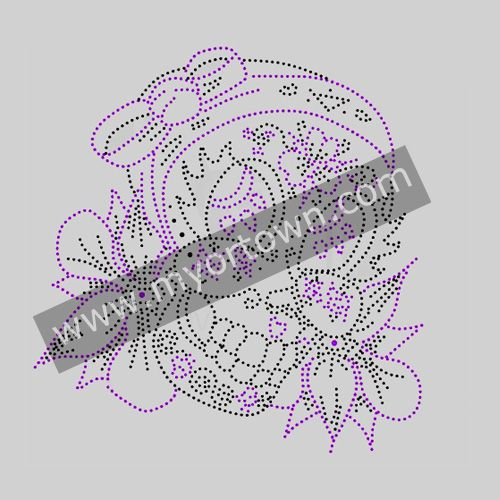 rhinestone Paarse doodshoofd met strik en bloemen Iron on Transfer Design Hotfix Rhinestone Motif Design Wholesale for t shirt
