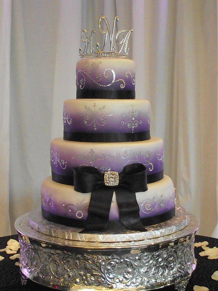 bling wedding cake with purple