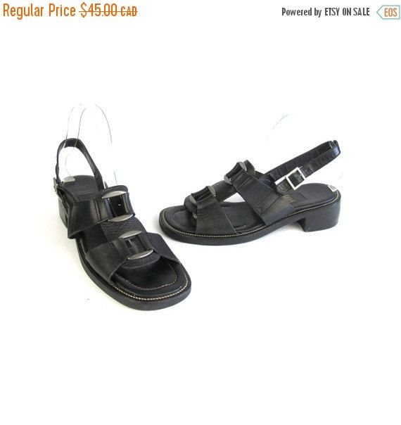 New to honeymoonmuse on Etsy: VACATION SALE 90s Chunky Sandals 90s Black Leather Sandals Cut Out Strappy Sandals Low Heel Cage Sandals Gladiator Summer Goth Ankle Strap S (38.25 CAD)