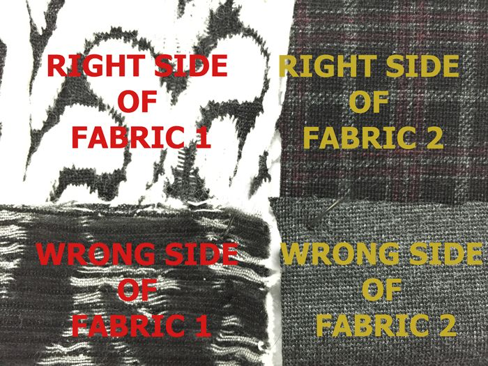 right and wrong side of fabric for design challenge at www.duellingdesigns.com