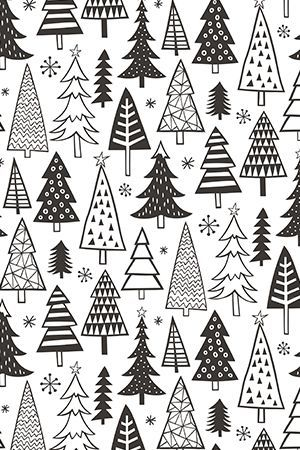 Christmas Holiday Forest Trees Black White door caja_design – Hand geïllustreerde bla …