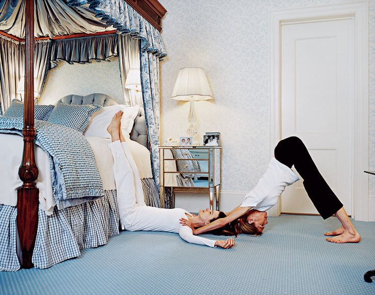 In a guest room at the Mayflower Grace in Washington, CT Marina Rust gets her Zen on practicing sleep yoga surrounded by the perfectly preppy combination of chintz and gingham.
