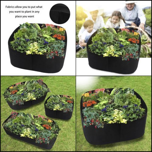 Fabric Raised Planting Bed Herb Flower Vegetable Plants Growing