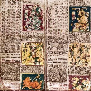 """The Dresden Maya Codex. """"1000 and 1200 A.D. during the Postclassic Maya period. The codex deals primarily with astronomy: days, calendars, good days for rituals, planting, prophecies, etc. There is also a part which deals with sickness and medicine. There are also some astronomical charts plotting the movements of the Sun and Venus."""""""