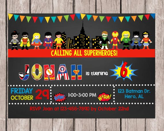 Superhero InvitationSuperhero Birthday by NeedmoreDesigns on Etsy