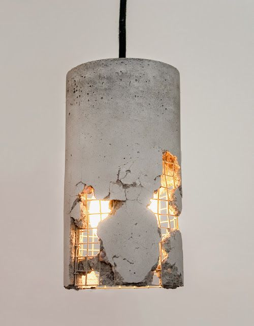 distressed cement lamp