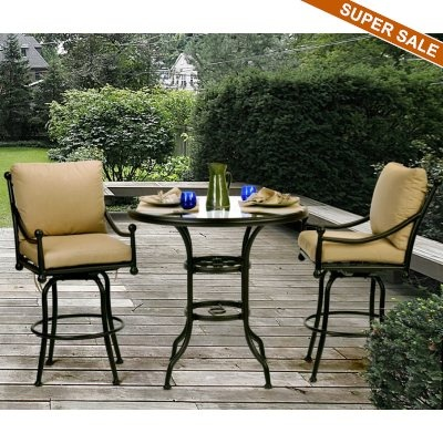 Origin Cast Aluminum Patio Swivel Bar Group 3 Pc. Bar Height Patio SetPatio  ...