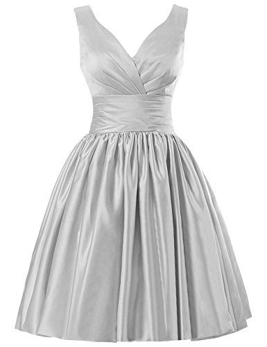 JAEDEN Short Bridesmaid Dresses Satin Prom Dress V Neck Ruched Gown Silver US18W