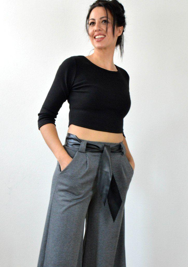 Παντελόνα Ψηλόμεση Ριγέ - ΓΚΡΙ | shop online: www.musitsa.com