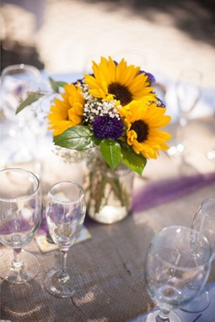 Fall wedding flowers sunflowers and babies breath on