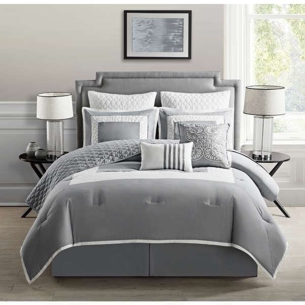 Twin Full Queen King Bed Gray Grey White Quilted 9 Pc Comforter Set Bedding Comforter Sets Bedding Sets Vcny