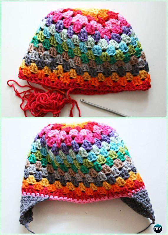 Crochet Granny Stripe Rainbow Beanie Hat Free Pattern Instructions-DIY #Crochet Ear Flap Hat Free Patterns