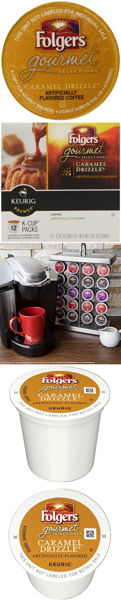 Folgers Caramel Drizzle Flavored Coffee, KCup Pods for