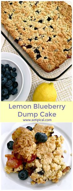 Lemon Blueberry Dump Cake Recipe - Just 4 Ingredients in this easy recipe! - So TIPical Me