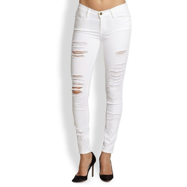 FRAME Le Color Rip Skinny Jeans ($199) ❤ liked on Polyvore featuring jeans,.  White Ripped Skinny JeansWhite Distressed ... - The 25+ Best White Ripped Skinny Jeans Ideas On Pinterest Blue