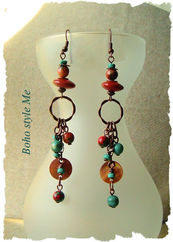 Bohemian Jewelry Turquoise Earrings Boho Cowgirl by BohoStyleMe