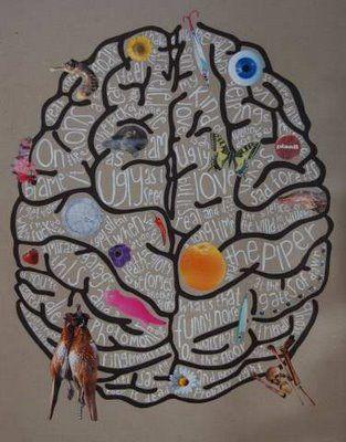 kunst, kanskje?: Hjernecollage på gråpapir 2
