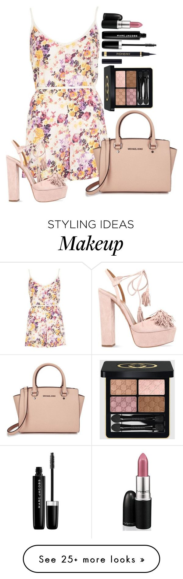 """Untitled #1459"" by fabianarveloc on Polyvore featuring River Island, Aquazzura, Michael Kors, Yves Saint Laurent, Marc Jacobs, Gucci and MAC Cosmetics"