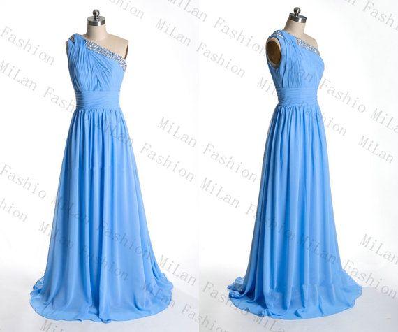 Chiffon Prom Dresses One-Shoulder Bridesmaid Dress Floor-Length Ocean Blue Cocktail Dress Evening Gown Bridal Dresses