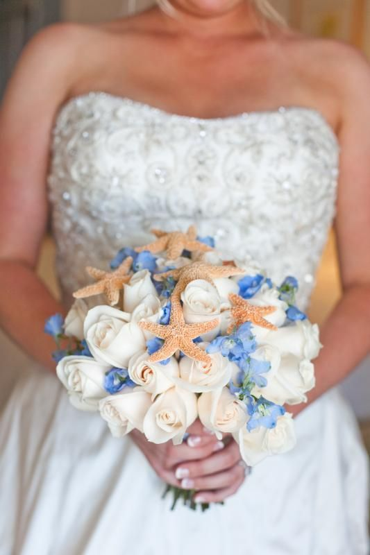 flowers for a beach wedding. starfish wedding flower bouquet, bridal flowers, add pic source on comment flowers for a beach