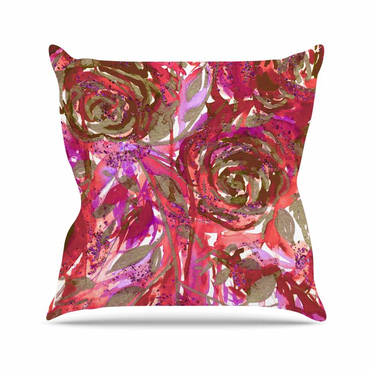 "Ebi Emporium ""Rose Combustion - Coral Red"" Maroon Floral Outdoor Throw Pillow - KESS InHouse  - 1"