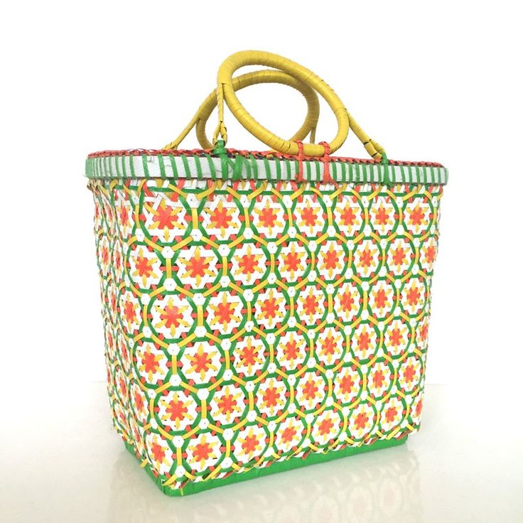 Image of Plaited recycled plastic basket Various colors Model S