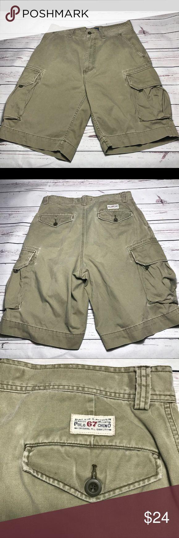 "Ralph Lauren Polo Cargo Shorts Chino Men's Size 33 Polo Ralph Lauren Cargo Shorts Size 33 Broken-In Feel Green/Tan Good Condition Minor Fabric Wear  Length: 21"" Inseam: 10""    B Polo by Ralph Lauren Shorts Cargo"