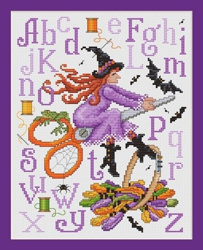 Witch's Stitches by Sue Hill Designs.  Great for the cross stitcher since the broom she is riding is a pair of scissors.  - I found this while browsing JuliesXstitch.com