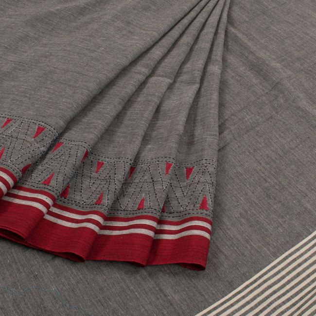 Buy online Hand Embroidered Grey Cotton Saree Without Blouse & With Kantha Work 10014921