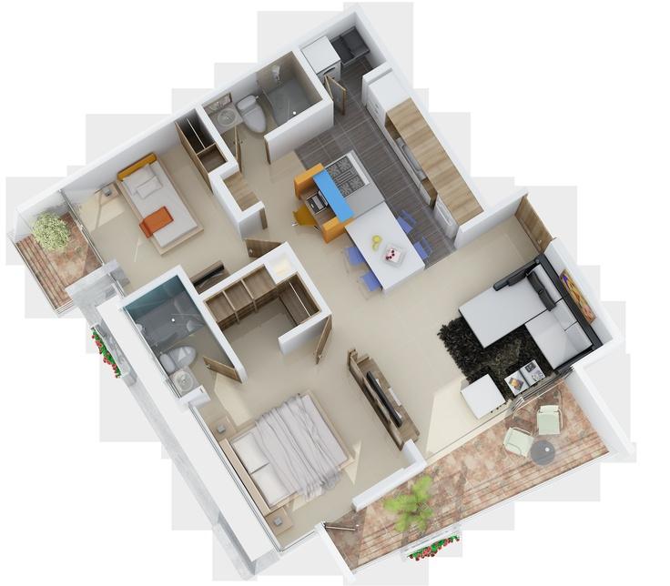 Axonometria Apartamento 75M2