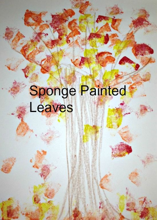 Sponge Painted Leaves - Autumn Blog Hop- this a project we would do during art it would represent the trees outside and how3 the kids look at them