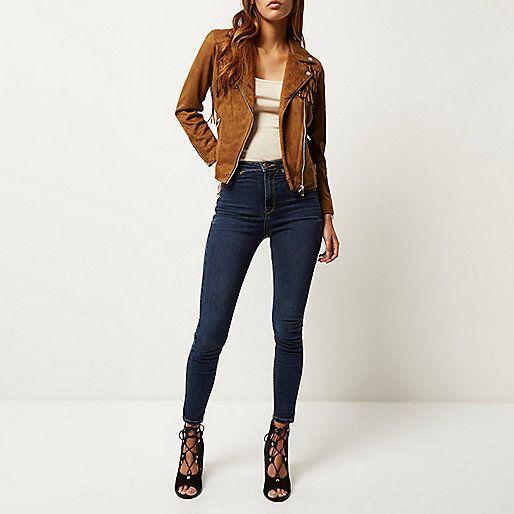 Veste en suédine marron à franges - Perfectos - Manteaux/vestes - femme