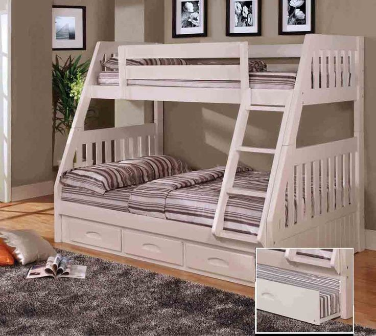 this unit in a clean white finish features a twin over full bunk bed with a threedrawer underbed storage unit - Twin Bedroom Sets For Adults
