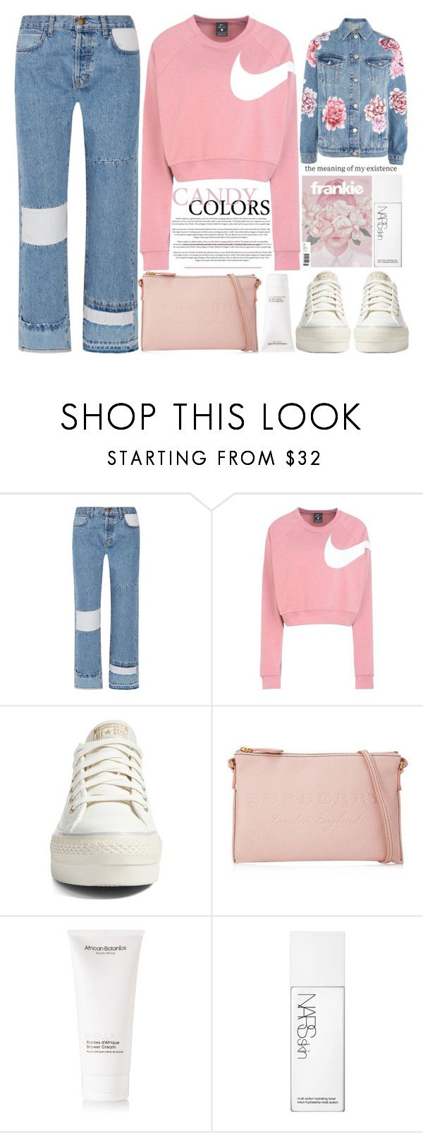 """Candy colors"" by theapapa ❤ liked on Polyvore featuring Current/Elliott, NIKE, Converse, Burberry, African Botanics, NARS Cosmetics and Topshop"