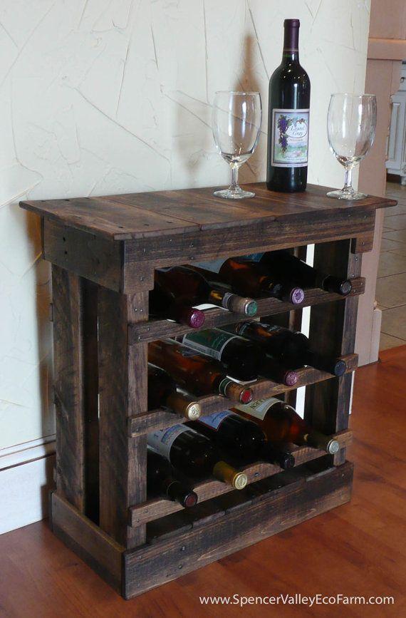 Dark Pallet Wood 12 bottle Wine Rack Floor by SpencerValleyEcoFarm