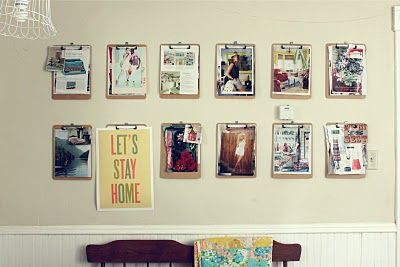 Inspiration Wall: Wall Art, Inspiration Wall, Idea, Hanging Pictures, Clipboards, Inspiration Boards, Art Display, A Frames, Kids Artworks