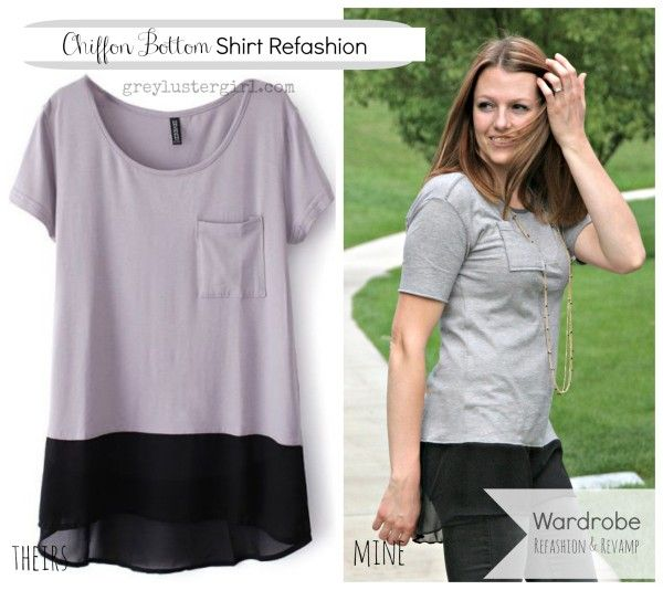 Chiffon Bottom Shirt Refashion. Greylustergirl.com has a revamp section with different pieces of clothing she has remodeled with tutorials.