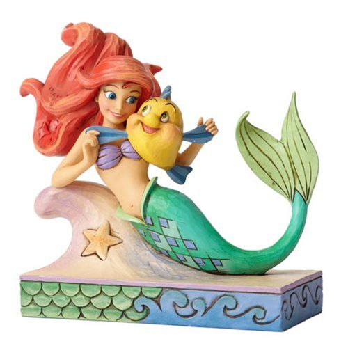Disney Traditions Little Mermaid Ariel with Flounder Statue - Enesco - Little Mermaid - Statues at Entertainment Earth