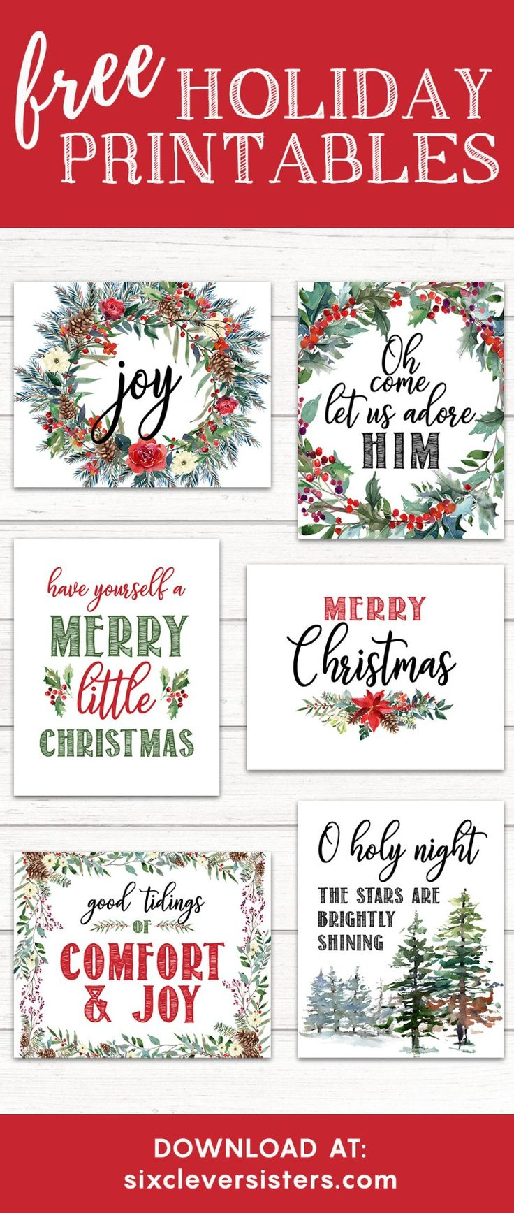 Printable Christmas Signs | Free Printable Christmas Signs | Holiday Printable Signs | Christmas Printables Free | Christmas Printables Free 8x10 | Just download and print these Christmas signs on the Six Clever Sisters blog for an easy way to add extra holiday decor!