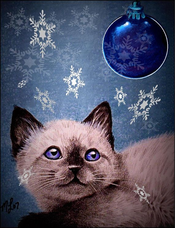 Siamese Kitten Cat Holiday Greeting Cards Art by by MelodyLeaLamb, $12.00