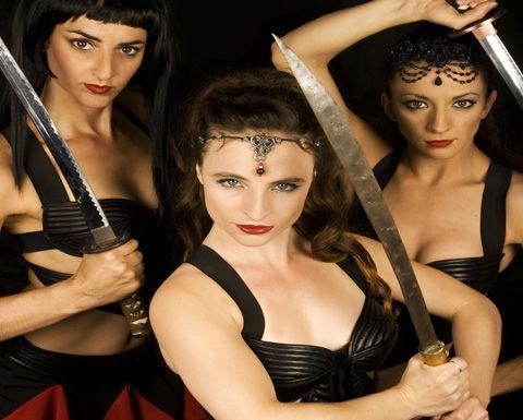 JAMES BOND 007 themed ENTERTAINMENT TO HIRE - SASSY ladies with swords  UK Entertainment Agency - Manchester, London, Brighton and Birmingham www.calmerkarma.co.uk  Tel:  020 3602 9540