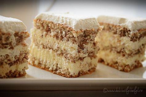 prajitura de casa cu nuca, prajitura cu nuca, blat pufos cu nuca pentru prajitura de casa, prajitura de casa cu ciocolata alba,