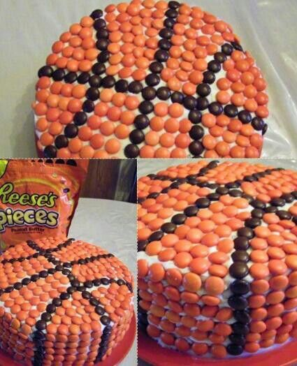 Basketball cake out of reeses pieces