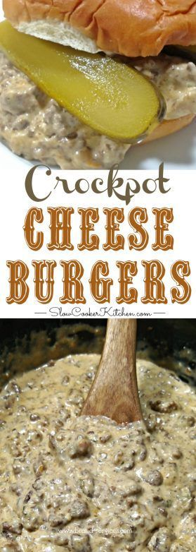 5-Ingredient Crockpot Cheeseburgers! Crockpot or skillet meal. Freezer Meal. 4 to 6 ingredients. Super easy and super versatile... Recipe: https://www.slowcookerkitchen.com/5-ingredient-crockpot-cheeseburgers/