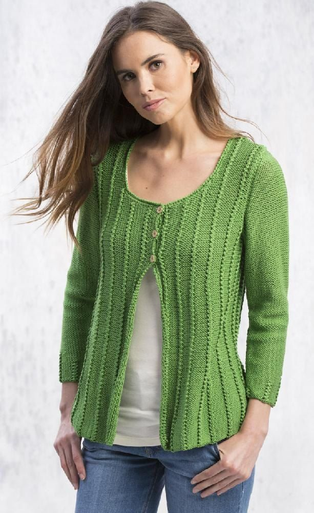 This cardigan has a gentle A-line created by decreases between the flattering vertical columns. On a simple reverse stockinette stitch background, the twisted stitch columns are fun to knit.