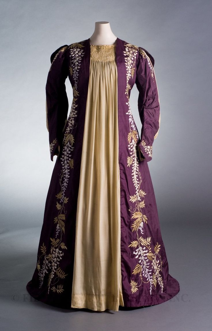 Tea Gown Great Britain, c. 1887-89 Museum Purchase 2007.5.22  This tea gown is heavily influenced by the Aesthetic movement, which flourished in Britain during the 1870s. Aesthetes rejected modern society with its cheap, mass-produced goods and artificial standards of beauty. Instead, they advocated a return to the refined, natural designs of classical antiquity or medieval Europe. Adherents of the Aesthetic movement desired reform in architecture and interior design as well as in dress.