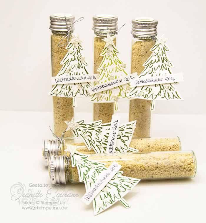 Stampin Up Ideen Weihnachtszucker im Flachbodenglas/Reaganzglas