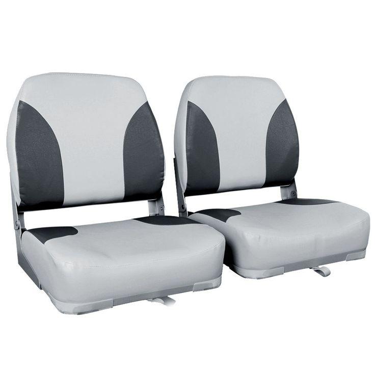 2 x Swivel Folding Marine Boat Seats Grey Black