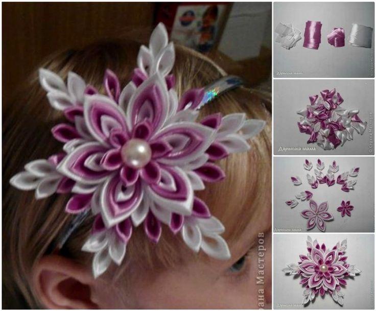 How to DIY Pretty Kanzashi Ribbon Snowflake | www.FabArtDIY.com #diy #craft #kanzashi #ribbon #snowflake #flower #Holiday #Christmas LIKE Us on Facebook ==> https://www.facebook.com/FabArtDIY